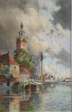 Hermanus Koekkoek ll. Amsterdam 1836-1909 London.A Dutch Harbour.
