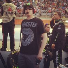 """Kyle lookin good rockin his monster gear in the pits"