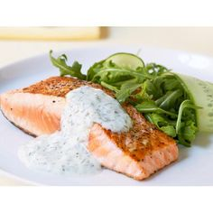 Grilled salmon with yoghurt and dill sauce recipe | FOOD TO LOVE