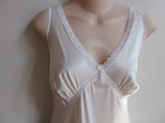 Vintage Full Slip white Antron Nylon nightgown sexy lingerie Size 38 bust by divasvintage on Etsy