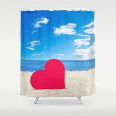 Ocean Shower Curtain from beachlovedecor.com #homedecor #beachlovedecor #showercurtain #bathdecor #coastal #ocean #beach  #heart #valentinesgift #gift