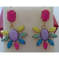 Fun Flower earrings posts, multi color pastel stones