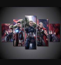 Style Your Home Today With This Amazing 5 Piece Multi Panel Modern Home Decor Framed The Avengers Age Of Ultron Movie Wall Canvas Art For $99.98  Discover more canvas selection here http://www.octotreasures.com  If you want to create a customized canvas by printing your own pictures or photos, please contact us.