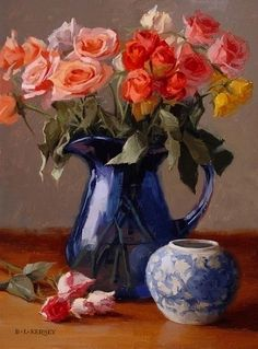 Spray Roses by Laurie Kersey Oil ~ 16 x 12 Share Pictures, Animated Gifs, Creation Photo, Acrylic Painting Techniques, Garden Painting, Spray Roses, Christmas Scenes, Still Life Art, Arte Floral