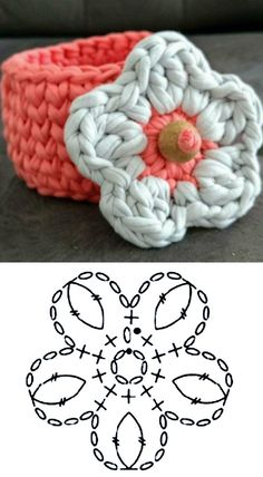 43 Ideas for crochet jewelry patterns diy Crochet Jewelry Patterns, Crochet Basket Pattern, Crochet Flower Patterns, Crochet Diagram, Crochet Accessories, Crochet Motif, Crochet Designs, Crochet Yarn, Crochet Flowers