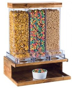 Features:  -Madera collection.  -600 Cubic inch capacity per bin.  -Bins removable for cleaning.  Product Type: -Cereal/Dry Food Dispensers.  Color: -Brown and Clear.  Set Size: -1.  Shape: -Rectangle