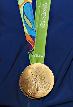 A view of a Rio 2016 Olympic Gold Medal as Olympic athletes Conor Dwyer and Maya…