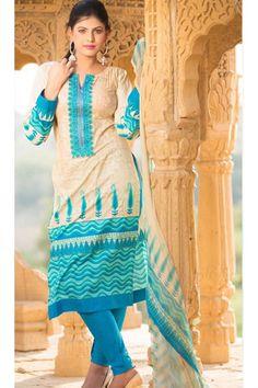 Cream Color Printed Salwar Suit - $47.03