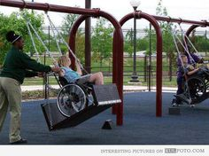 Swings for disabled kids - Special swings at a playground designed for kids in wheelchairs. Faith in humanity restored.