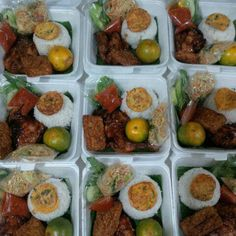 Rice Box, Catering Food, Beverage Packaging, Indonesian Food, Bento, Lunch Box, Food And Drink, Baking, Vegetarian