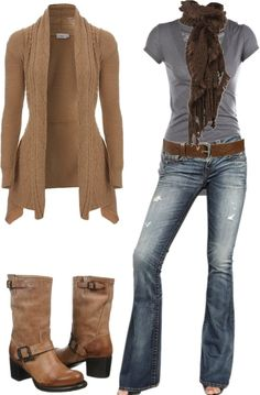 Love the brown sweater and boots