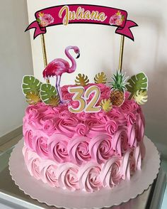 Flamingo cake - flamingo cake models - My Best Partys Flamingo Party, Flamingo Cake, Flamingo Birthday, Hawaiian Birthday, Luau Birthday, Birthday Cake, Birthday Parties, Aloha Party, Luau Party