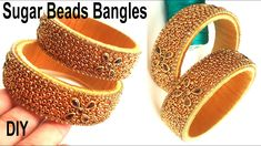 Easy to Make Sugar Beads Bangles at Home // DIY // How to Make Silk Thread Bangles for Beginners Silk Thread Earrings Designs, Silk Thread Bangles Design, Silk Thread Necklace, Silk Bangles, Bridal Bangles, Thread Jewellery, Beaded Jewelry Patterns, Diy Jewellery, Sugar Beads