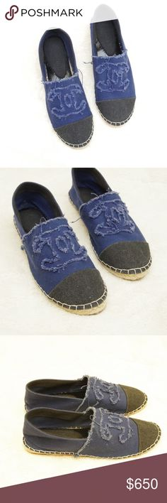 Rare CHANEL Denim Espadrilles Flat Blue Distressed Beautiful rare/sold out Chanel Spring/Summer 2013 collection Blue Denim / Grey Toe Espadrilles Flats Shoes. This was the first generation/run for this shoe style and are hard to find.  They are VERY lightly pre-owned. No damage or flaws. With use and wear, they will develop a more stonewashed look. Their current color is still a very deep and vibrant blue, signifying their very little use.  They are a EURO size 39, US 8.5. Please be aware…