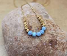 Bar opal necklace, ball light blue opal bead necklace, 14K gold filled chain, 4MM opal round bead, 3MM gold plated beads