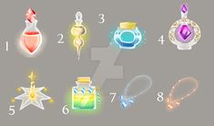 Potions and necklaces (OPEN) by SpringPeachAdopts.deviantart.com on @DeviantArt