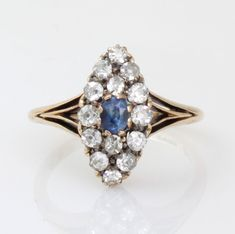 Antique Art Deco 18ct Gold Sapphire Diamond Marquise Cluster Ring Size M