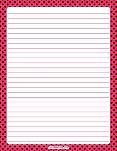 Printable pink and black polka dot stationery and writing paper. Multiple versions available with or without lines. Free PDF downloads at http://stationerytree.com/download/pink-and-black-polka-dot-stationery/