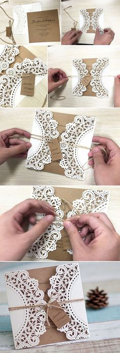 DIY Wedding Ideas: 10 Perfect Ways to Use Paper for Weddings Pink, black and lace diy lace and burlap laser cut rustic wedding invitations for country wedding ideas Laser Cut Wedding Invitations, Diy Invitations, Wedding Stationary, Invitation Cards, Invitation Ideas, Country Wedding Invitations, Wedding Invitation Lace, Quinceanera Invitations, Make Your Own Wedding Invitations
