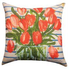 Manual Floral Fusion Orange Tulips Decorative Pillow - SLFFOT