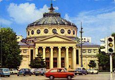 1972 postcard from Romania, Bucharest / Bucuresti, The Romanian Athenaeum / Ateneul Român, featuring VW Beetle Export + Type 3 Squareback / Variant, BMW 2000, FIAT 1100D + 850, MOSKVITCH 403, ALFA ROMEO Giulia Sprint, HILLMAN Minx, FORD Taunus 20M