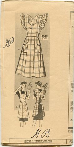 1940s Mail Order 4549 Misses Full Apron Ruffled by GreyDogVintage, $16.00