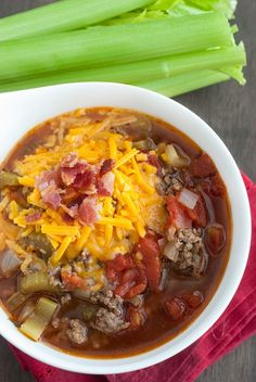 Slow Cooker Cheeseburger Soup... Serves: 5... Ingredients...     1.5 lb ground beef, lightly browned...     3 cups beef broth...     8 oz. tomato paste...     1½ tomatoes, chopped...     ½ red bell pepper, chopped...     3 celery sticks, chopped...     ½ cup onions, chopped...     1½ teaspoons parsley...     1 teaspoon Worcestershire sauce...     1 teaspoon garlic powder...     ½ teaspoon salt...     ½ teaspoon pepper...     ½ cup of cheese...     2 slices bacon, cooked and chopped.
