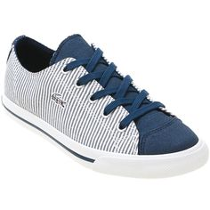 Infinity Shoes - Navy White Lacoste Women's L 27 Canvas Sneaker shoes