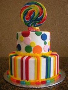 bolo com arco iris 225x300 Bolo decorado com o arco iris