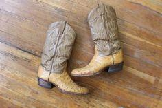 Tony Lama Cowboy BOOTS / Women's Ostrich Leather Western Boots / Vintage Size 9 Women's / Men's 7 1/2 Cowboy Boots Women, Western Boots, Country Girl Boots, Snake Skin, Calves, Eyewear, Footwear, Fancy, Hats