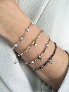 Bransoletka / złocenie GF / szare perły / szary jedwabny sznurek - Selfie Jewellery - Sklep Internetowy