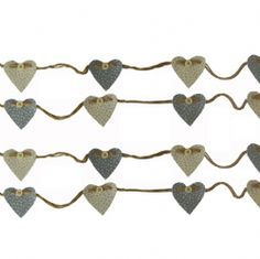 RUSTIC SWEETHEART BUNTING GARLAND, GREY DITSY PRINTS 100% COTTON FABRIC, 2.5 METRES LONG