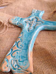 Aqua Seaside Cross by carriewdesign on Etsy