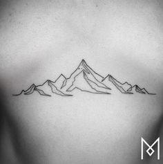 Single Line Mountains Tattoo