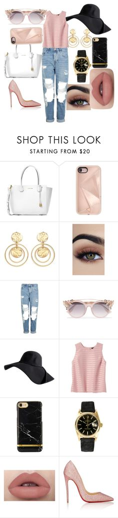 """Pink"" by eva-l118 ❤ liked on Polyvore featuring Michael Kors, Rebecca Minkoff, Kenneth Jay Lane, Topshop, Jimmy Choo, Banana Republic, Rolex, Christian Louboutin, Pink and hat"