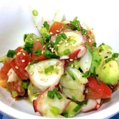 Great recipe for Hawaiian Octopus Poke. I wanted to make ahi poke to reminisce on my trip to Hawaii. But I couldn't get good tuna, so I decided to make octopus poke instead. When adding the avocado to the bowl with the octopus, add the lemon juice as well. The lemon juice prevents the avocado from discoloring and adds flavor. Recipe by Mugitarou