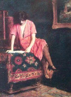 Reading Girl. Ármin Glatter (Hungarian, 1861-1916). Oil on canvas.