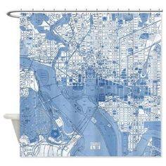 Blueprint Washington DC Vintage map shower curtain - Street map of the Capitol Potomic, historical monuments, the white house, travel decor,...