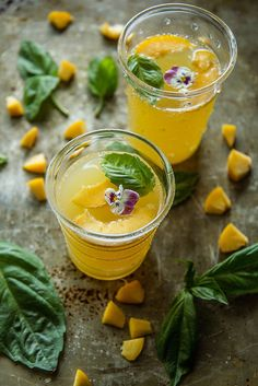 Peach Basil Belinis from @heatherchristo