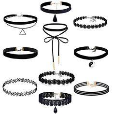 10 Stück Choker Halsketten Set Velvet Spitze Tattoo Halsketten Stretch Elastische Tassel Ketten, Schwarz