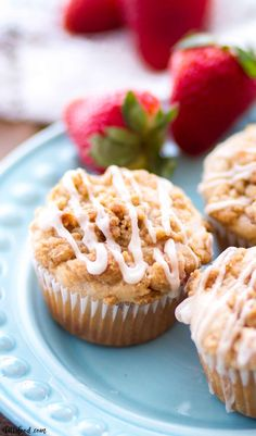 """""""These homemade Strawberry Crumb Cake Muffins are made with fresh strawberries and topped with a crumb cake streusel and vanilla glaze! These easy strawberry muffins make a great breakfast, easy brunch recipe, or on-the-go snack! Homemade Strawberry Ice Cream, Strawberry Dessert Recipes, Strawberry Muffins, Homemade Ice Cream, Homemade Vanilla, Cooking Ice Cream, Easy Summer Desserts, Breakfast Dessert, Breakfast Recipes"""