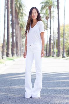 Aimee Song's white t-shirt and flares is just one of 11 ways we love to wear all white this summer