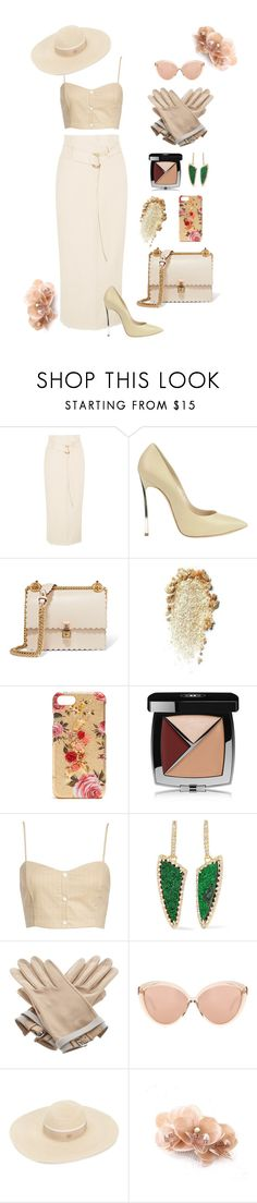 """With a touch of créme."" by doo-x ❤ liked on Polyvore featuring Nanushka, Casadei, Fendi, Dolce&Gabbana, Chanel, Leith, Kimberly McDonald, Hermès, Linda Farrow and Maison Michel"