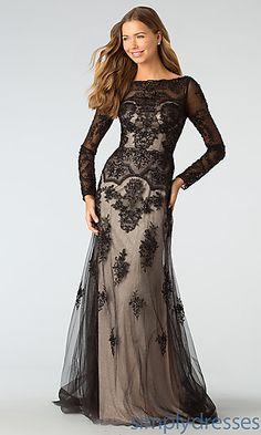 Full Length Long Sleeve Lace Embellished Modest Prom Dress