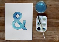 Watercolor ampersand! Watercolor Tutorial: How to Paint Watercolor Typography #DIY