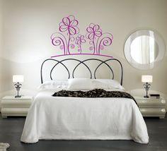 Vinilo decorativo cabecero de cama Floral pétalos.