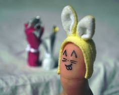 =:) bunny  finger people