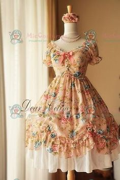 Celine Summer Princess Printed Rose Chiffon Lolita Dress