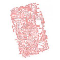 Famille Summerbelle: New York Citymap KORAL/PINK - silketryk (70 x 50 cm)