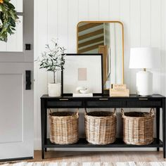 Woven Drawer Console Table Black - Threshold™ Designed With Studio McGee : Target E Design, Interior Design, Interior Decorating, Decorating Ideas, Decor Ideas, Rattan Basket, White Table Lamp, Room Essentials, Round Corner